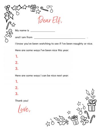 Free Printable Letter to Elves
