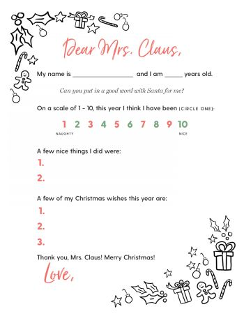Free Printable Letter to Mrs. Claus