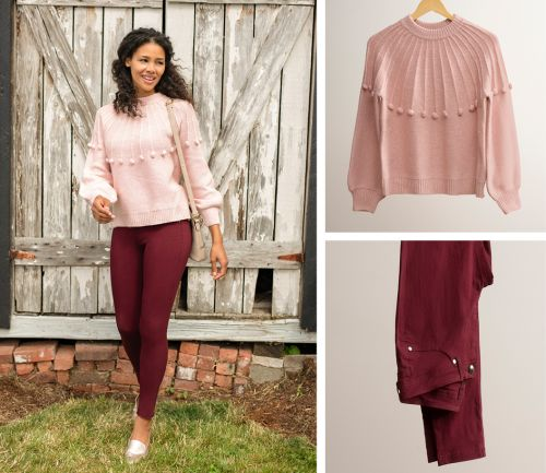 women's fall outfit. pink sweater, burgundy skinny pants, and necklace.