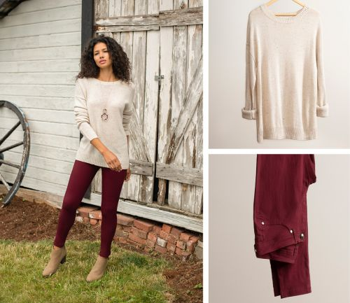 women's fall outfit. skinny pants, cozy cardigan, and necklace.