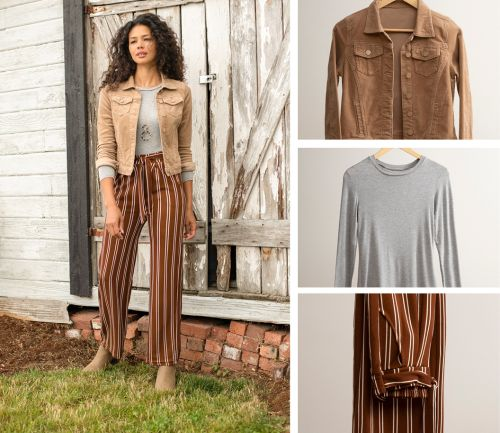women's fall outfit. layering tee, corduroy jacket, and tie-waist dress pants.