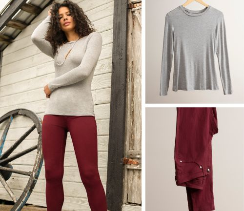 women's fall outfit. skinny pants and layering tee.