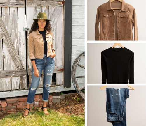 women's fall outfit. dark wash jeans, ruffle edge tunic, and corduroy jacket.