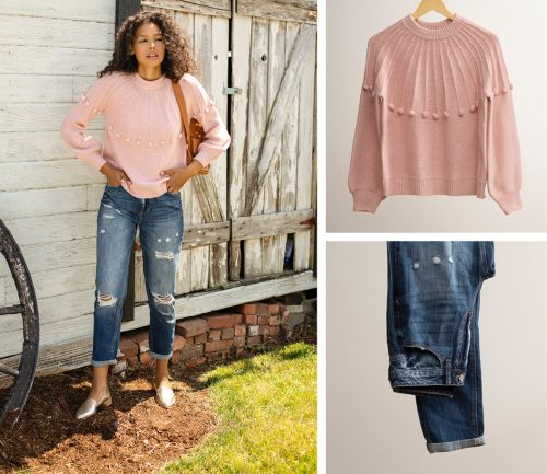 women's fall outfit. dark wash jeans, pink sweater, and backpack.