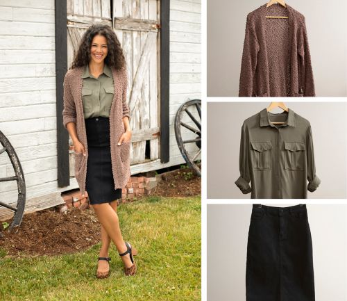 women's fall outfit. olive button-up shirt, cozy cardigan, and black denim skirt.