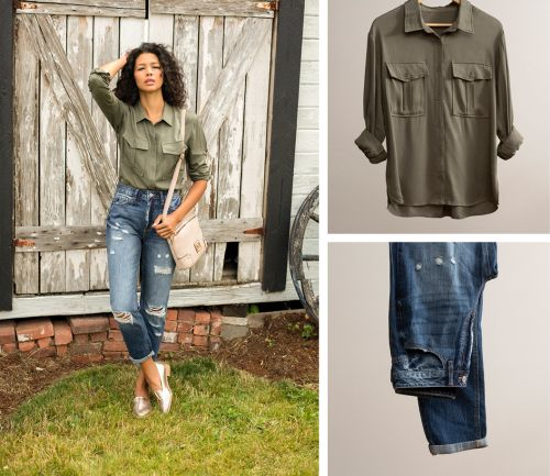 women's fall outfit. dark wash jeans, olive button-up shirt, and beige crossbody.
