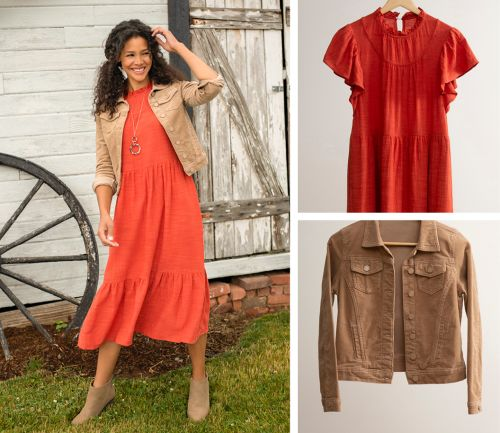 women's fall outfit. orange dress,  corduroy jacket, necklace.