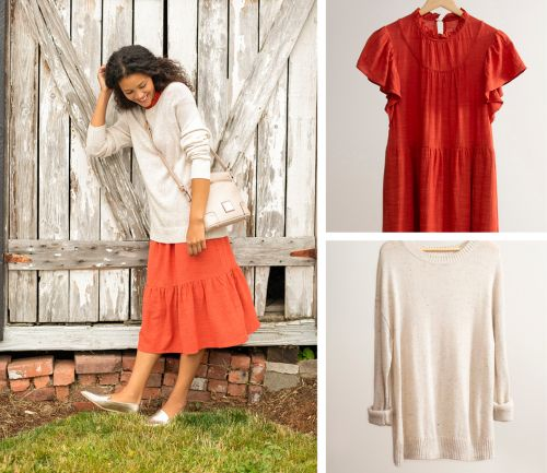 women's fall outfit. comfy dress, cream sweater, and beige crossbody bag.