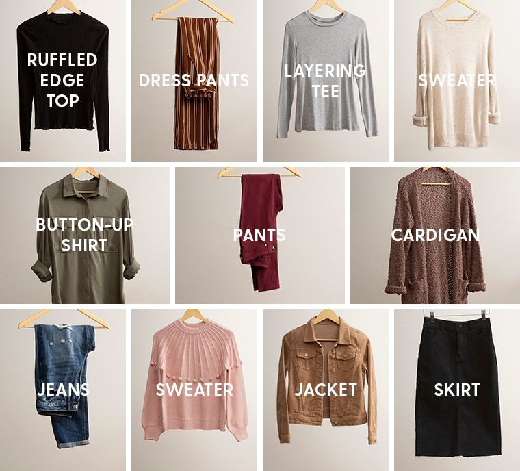 Fall capsule items. Ruffled edge top, dress pants, layering tee, cream sweater, button-up shirt, pants, cardigan, jeans, pink sweater, corduroy jacket, black denim skirt.