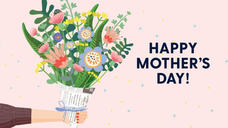 happy mother's day with flower bouquet mother's day card printable