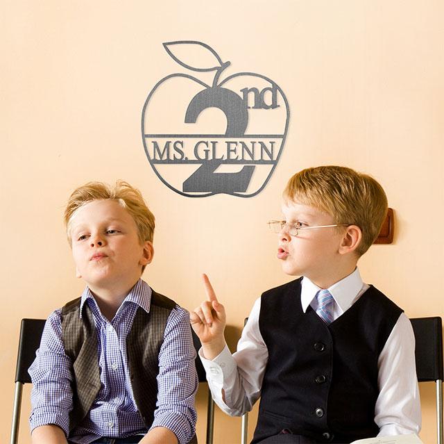 Personalized Teacher Appreciation Apple Monogram