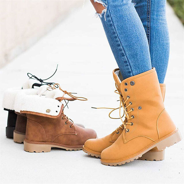 Lace-up boots in tan, brown, dark brown, and black.