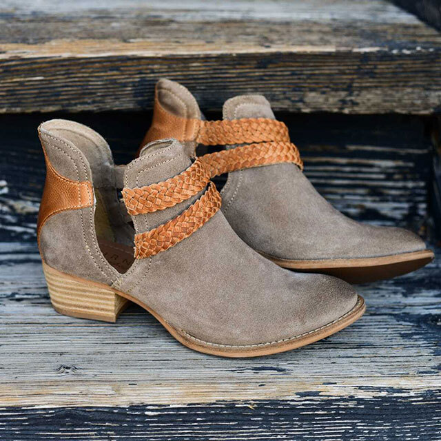 suede booties with braided details.
