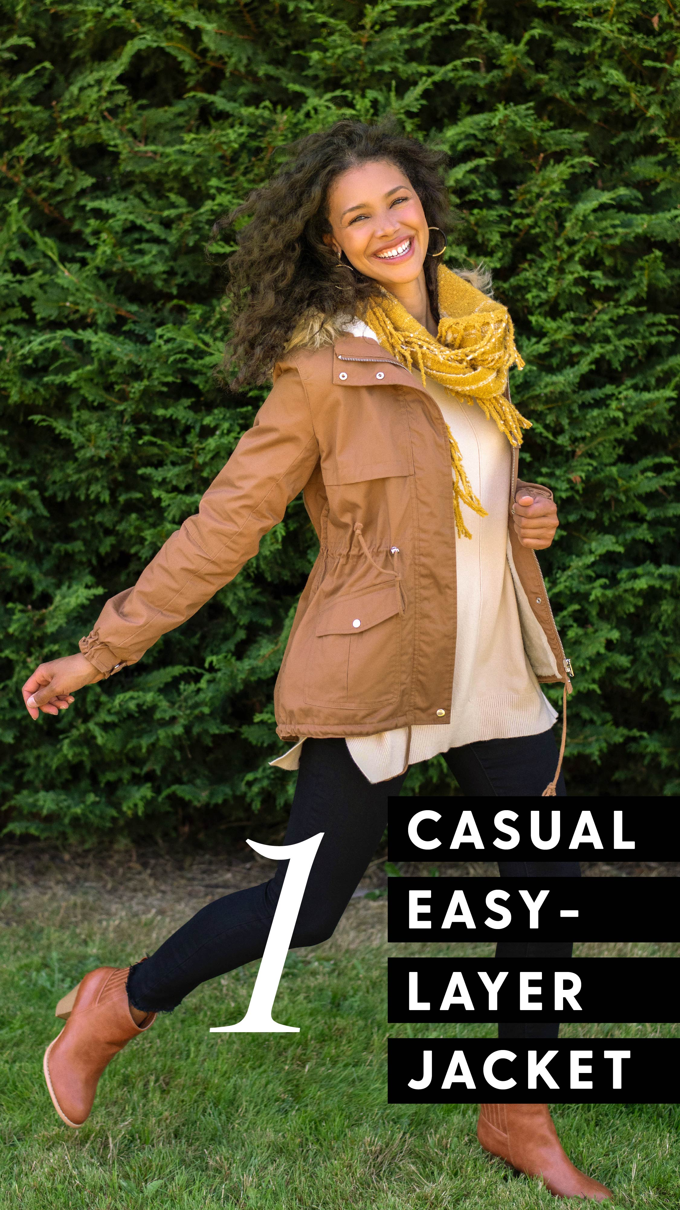 Style 1 Casual easy-layer jacket. Picture of women in light taupe jacket, layered with a yellow scarf and cream sweater