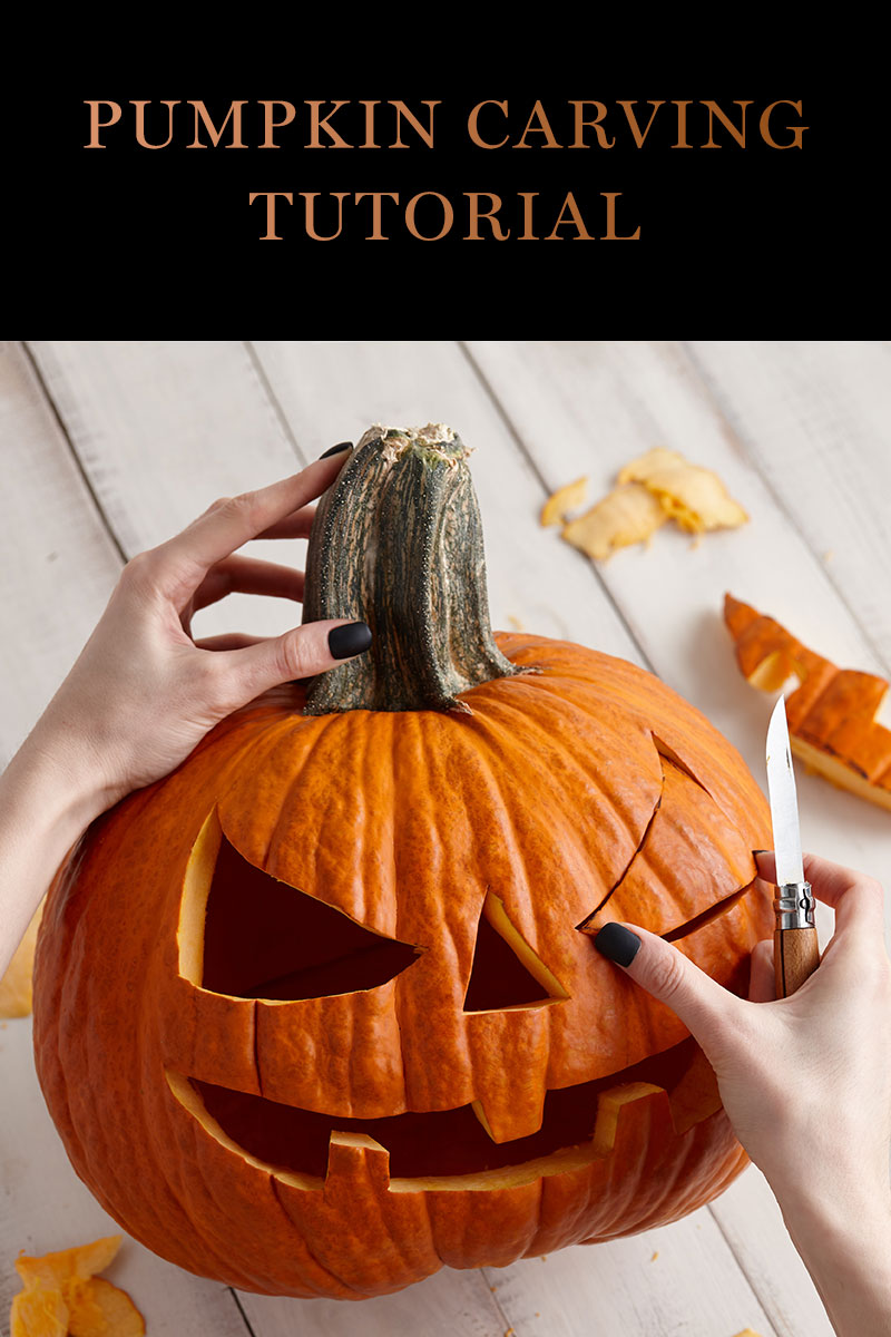 Pumpkin carving tutorial - picture of pumpkin being carved.