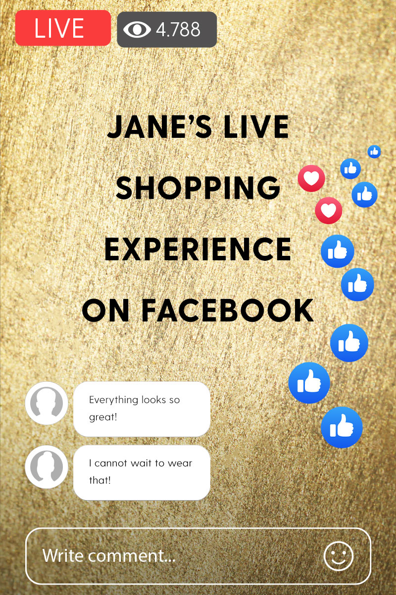 Creative image of watching Facebook shopping live on a mobile phone.